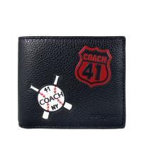COACH 壓印LOGO黑色全皮革美國棒球圖騰雙折式短夾(附活動卡片夾)