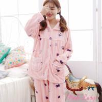 Pink Lady 水果盛夏保暖法蘭絨排扣成套睡衣(蜜桃粉)9188-4
