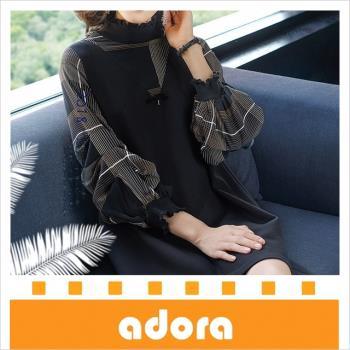 adora 2018秋冬裝新款格子拼接A字時尚立領顯瘦氣質長袖洋裝-黑色