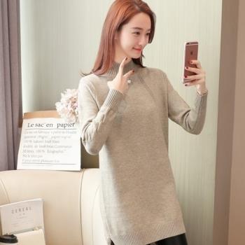 adora 韓版2018秋冬半高領套頭加厚時尚寬鬆針織衫(3色)