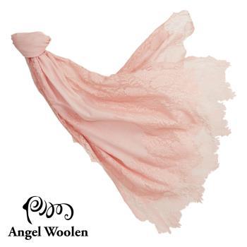 Angel Woolen 印度手工cashmere粉舞蕾絲披肩