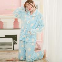 lingling日系 兔兔小點全開釦水貂絨二件式睡衣組(全尺碼)