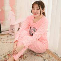 lingling日系 英字兔兔貼布條紋棉質二件式睡衣組(全尺碼)