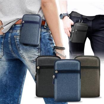 Aisure for 小米8 Lite/小米8 Pro/紅米Note 6 Pro 時尚前端雙層拉鍊帆布腰包