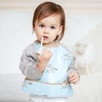 【3件入】MuslinTree兒童長袖反穿衣防水圍兜工作服防髒吃飯衣
