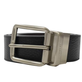 COACH 64840 荔枝牛皮雙面皮帶壓紋雙面寬版皮帶.黑/銀扣