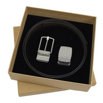 COACH 65186 經典質感荔枝牛皮雙面皮帶禮盒組.黑/深咖