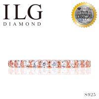 【頂級美國ILG鑽飾】八心八箭仿真鑽石戒指 0.030 Ct-經典925純銀玫瑰金線戒RI201