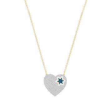 【SWAROVSKI】施華洛世奇 滿版水晶內六角星愛心造型頸鍊-(銀)