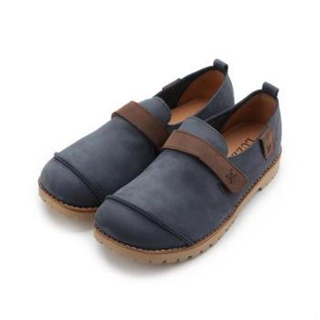 LUZZI 真皮X手縫拼接休閒鞋 藍 女鞋 鞋全家福