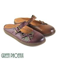GREEN PHOENIX 一字帶撞色花瓣蝴蝶結全真皮平底前包後空拖鞋U31-27323
