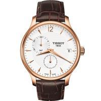 TISSOT Tradition GMT 二地時區經典腕錶-白x玫瑰金框/42mm T0636393603700