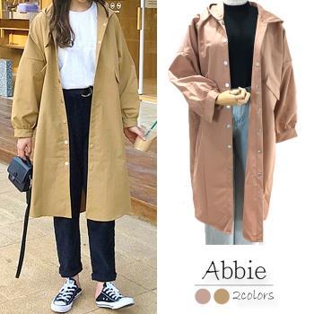 【Abbie】韓版連帽長版風衣外套