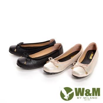 W&M 閃亮光澤淑女蝴蝶結 豆豆鞋 女鞋-2色(閃亮黑、閃亮金粉)