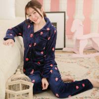 lingling日系 草莓插圖全開釦水貂絨二件式睡衣組(全尺碼)