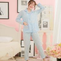 lingling日系 英字皺感棉布全開釦式二件式睡衣組(全尺碼)