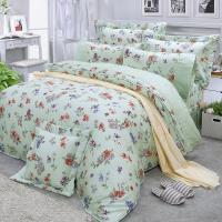 FITNESS 精梳棉雙人七件式床罩組-穠芳(綠)