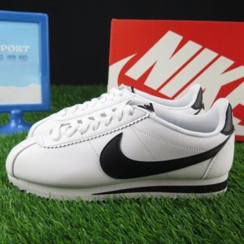 Nike WMNS CLASSIC CORTEZ LEATHER 阿甘鞋 休閒鞋 正品 807471101 男女款 白底黑勾 經典款