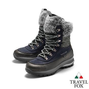 TRAVEL FOX(女) GRITEX 歐系登山系列 牛皮防震禦寒高筒翻毛登山鞋 - 深灰