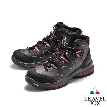 TRAVEL FOX(女)  SPOTEX歐系登山系列 牛巴戈防震禦寒運動登山鞋 - 粉線灰