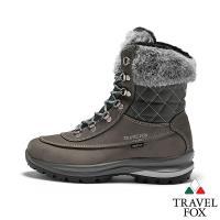 TRAVEL FOX(女) GRITEX 歐系登山系列 牛皮防震禦寒高筒兔毛邊登山鞋 - 卡其