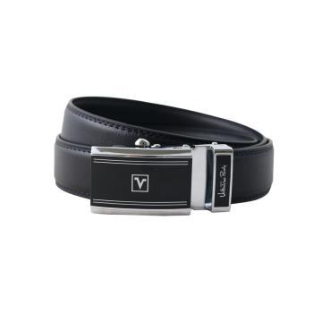 Valentino Rudy黑面雙線條LOGO印圖紳士自動扣牛皮皮帶-ZV6919