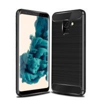 YANGYI揚邑-Samsung Galaxy A8 2018 拉絲紋碳纖維軟殼散熱防震抗摔手機殼