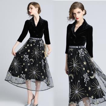 歐風KEITH-WILL M-2XL 倫敦序曲復古優雅V領洋裝
