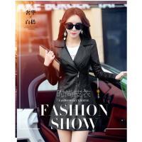 A3 優雅時尚曲線皮大衣-現貨+預購