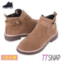 TTSNAP短靴-韓國簡約微尖單繞帶中跟靴 黑/棕