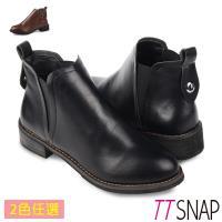 TTSNAP短靴-亮面美型時髦纖細低跟靴 黑/棕