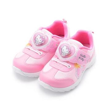 Hello Kitty 愛心魔鬼氈電燈鞋 粉 718736 中大童鞋 鞋全家福