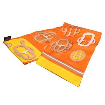HERMES Bouclerie Moderne Vichy系列Maxi Twilly釦頭圖騰絲綢長型披巾/圍巾(柑橙色)