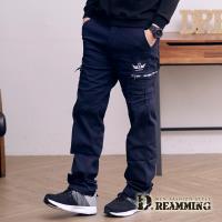 【Dreamming】透氣素面翅膀多口袋休閒工作長褲(深藍)