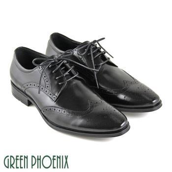GREEN PHOENIX 雷射雕花循環氣孔綁帶全真皮皮鞋(男鞋)T9-18285