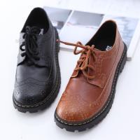 ZUCCA【z6516】經典皮革綁繩紳士鞋-黑色/駝色