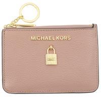 MICHAEL KORS ADELE 鎖頭造型鑰匙環零錢包.粉裸