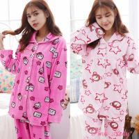 Pink Lady 保暖海島絨排扣長袖成套睡衣(兩套組) 6606-1+6603-1