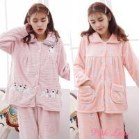 Pink Lady 保暖法蘭絨排扣成套睡衣(兩套組) 272+9188-9