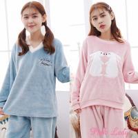 Pink Lady 保暖法蘭絨長袖成套睡衣(兩套組) 059+056