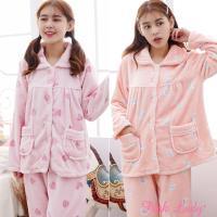 Pink Lady 保暖法蘭絨排扣長袖成套睡衣(兩套組) 9188-3+9188-9