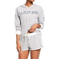 US Polo 女時尚灰色連帽運動衫短褲睡衣套組