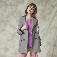 FIORE花蕾時尚名品媚力千鳥格羊毛外套
