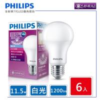 6入組【飛利浦 PHILIPS】LED廣角燈泡 11.5W 白光 1200流明 6500K 全電壓