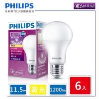 6入組【飛利浦 PHILIPS】LED廣角燈泡 11.5W 黃光 1200流明 3000K 全電壓