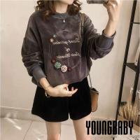 YOUNGBABY中大碼- 立體小花金絲絨加厚上衣.灰/綠