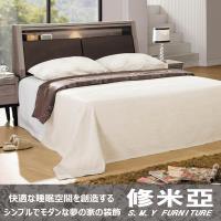 【修米亞-復古經典】雙人六尺照明床組(床頭箱+床底)