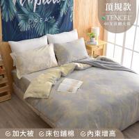 夢工場 星晴閃耀天絲頂規款兩用被鋪棉床包組-雙人