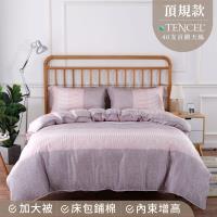 夢工場 別緻雅意天絲頂規款兩用被鋪棉床包組-雙人