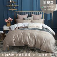 夢工場 一望清秋天絲頂規款兩用被鋪棉床包組-雙人